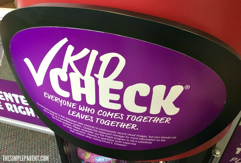 Kid Check at Chuck E. Cheese's means our kids play safe!