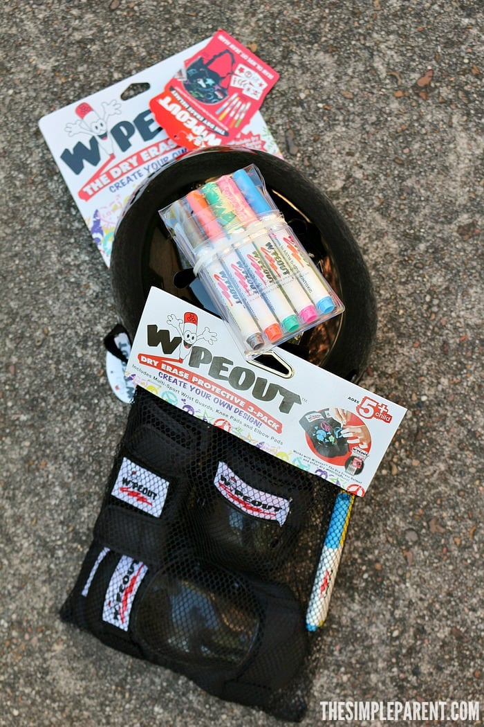Check out Wipeout Dry Erase Protective Gear and design your own bike helmet and pads!