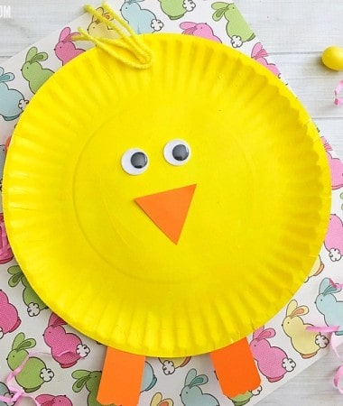 Make a cute paper plate Easter chick craft with your kids!