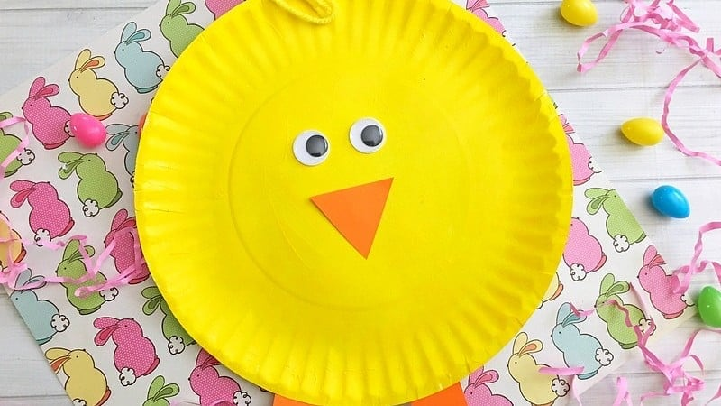 Easy Chick Paper Plate Easter Craft for Kids to Make