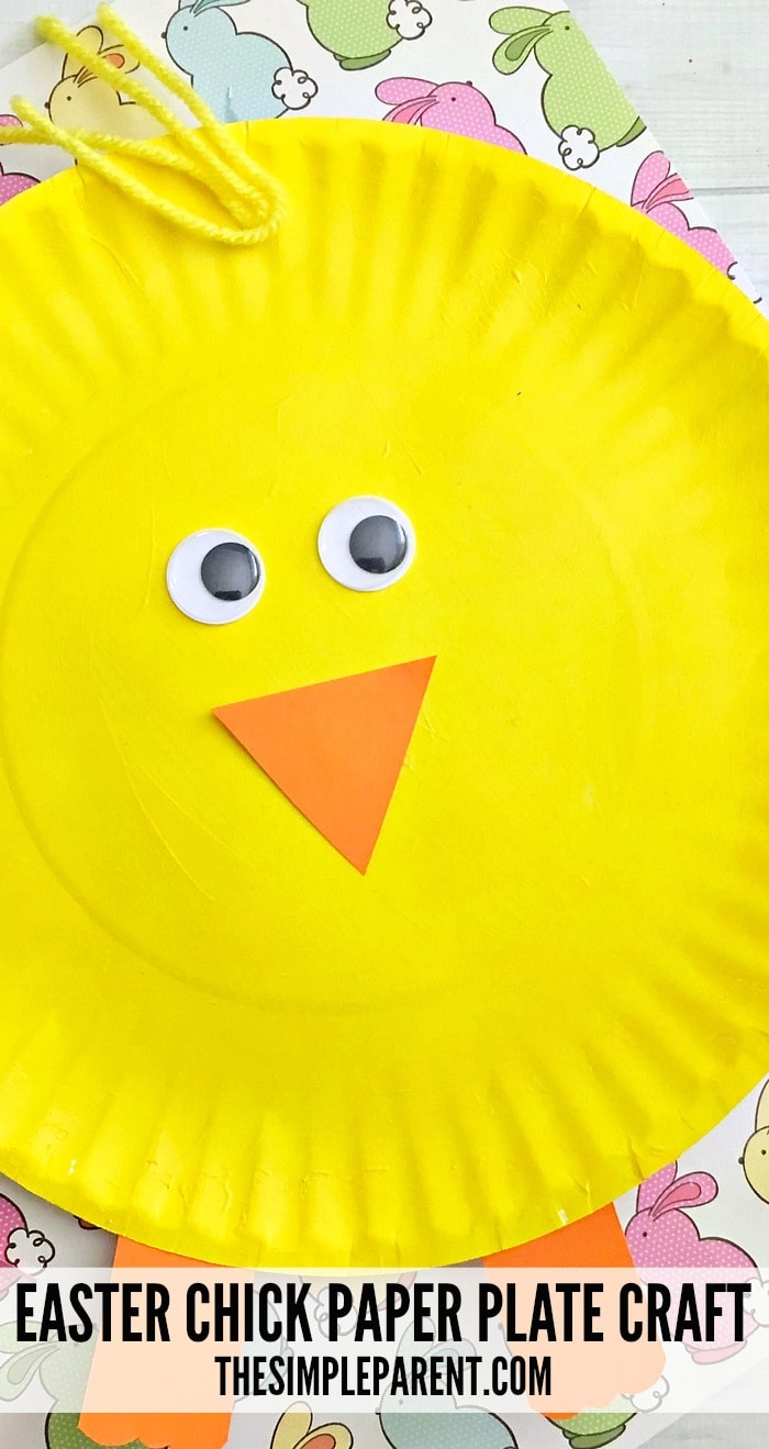 Make a cute chick paper plate Easter craft with your kids this year! It's so easy!