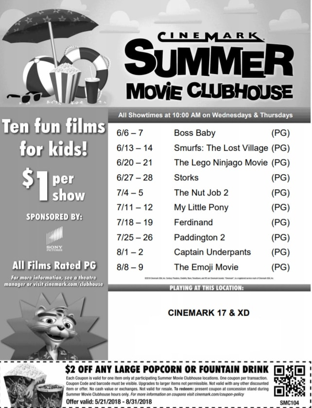 Local Information about the Cinemark Summer Movie Clubhouse