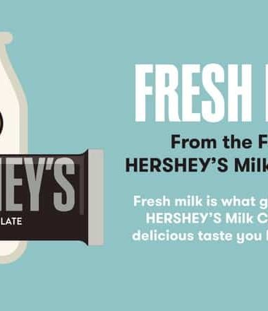 HERSHEY'S Milk Chocolate uses simple ingredients including farm fresh milk to make that delicious taste we love!