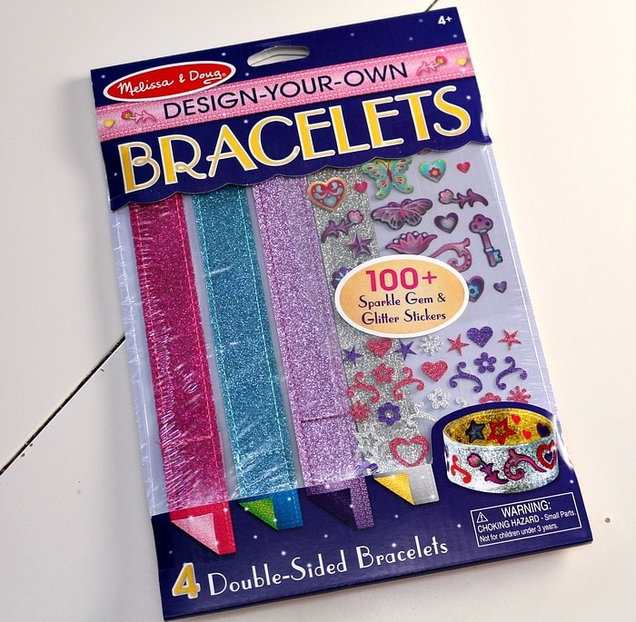 The Melissa & Doug Design-Your-Own Bracelets kit is an easy bracelet making kit for kids!