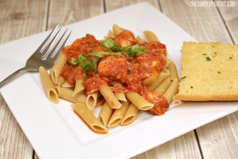 Make this chicken pasta marinara recipe for dinner!