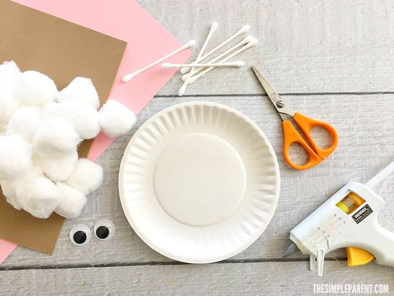 Here's what you need to make an Easter Paper Plate Craft Bunny!