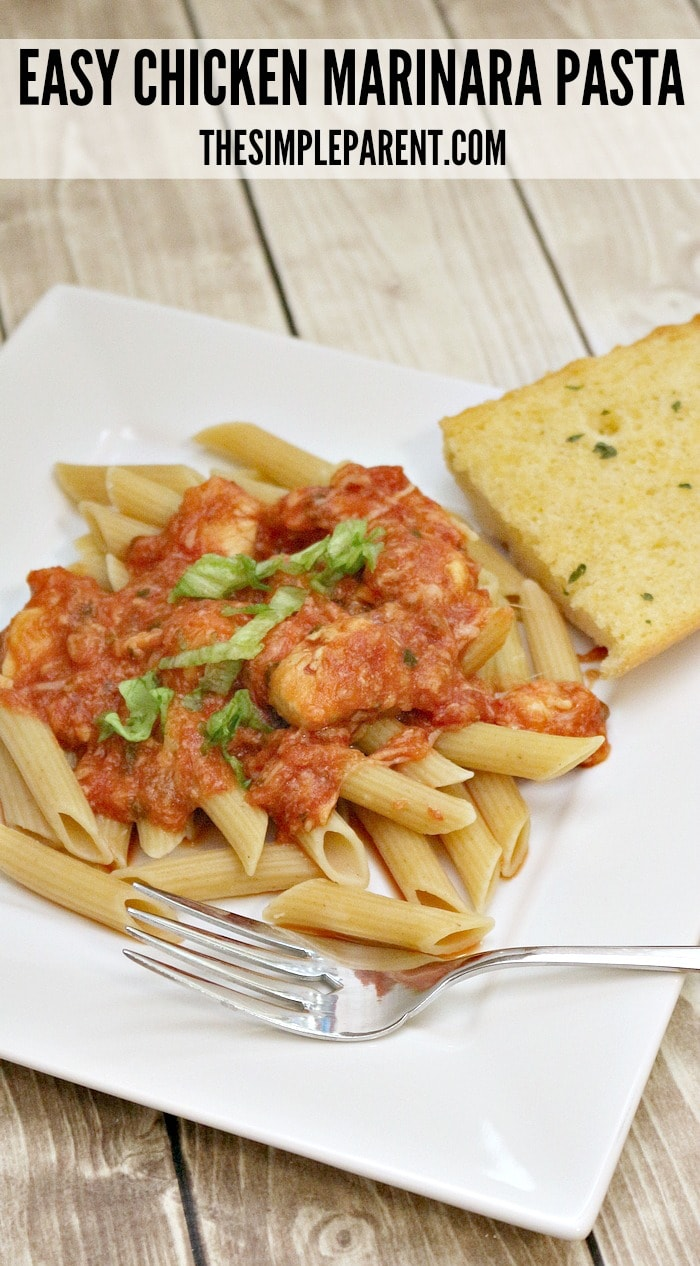 Easy chicken marinara pasta is a great family friendly dinner idea!
