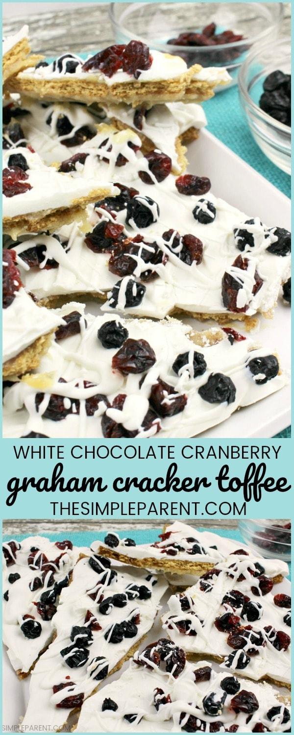White Chocolate Cranberry Graham Cracker Toffee - This graham cracker dessert is so easy to make! The kids can help you with some of the steps and everyone will enjoy graham cracker crack. This is one of my favorite graham cracker recipes! Be sure to check out how the brown sugar and butter come together!