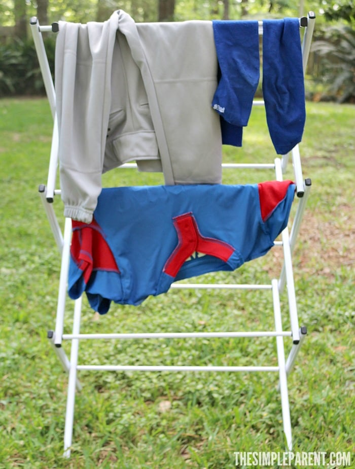 Cold water washing and hanging to dry are easy eco-friendly laundry tips!