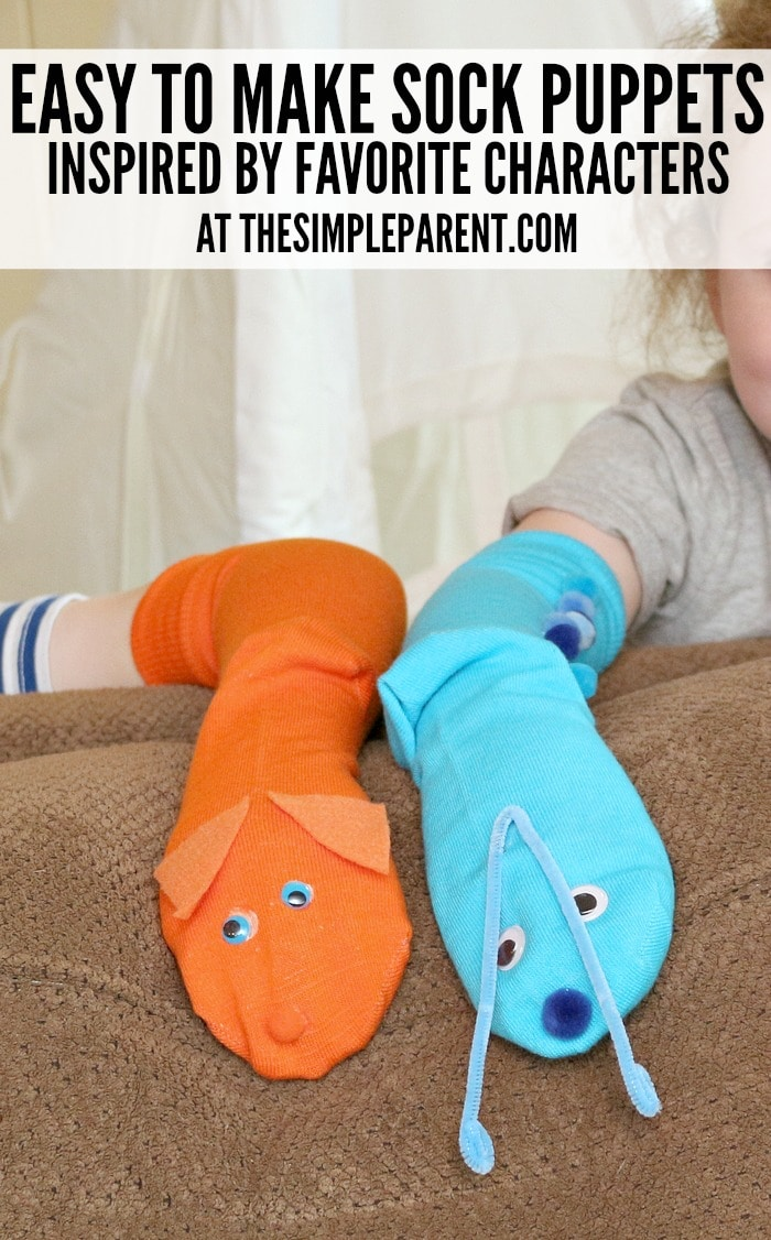 Your children's favorite TV and movie characters are perfect easy sock puppet ideas!
