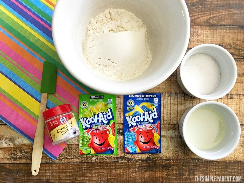 Check out the easy ingredients for homemade playdough.
