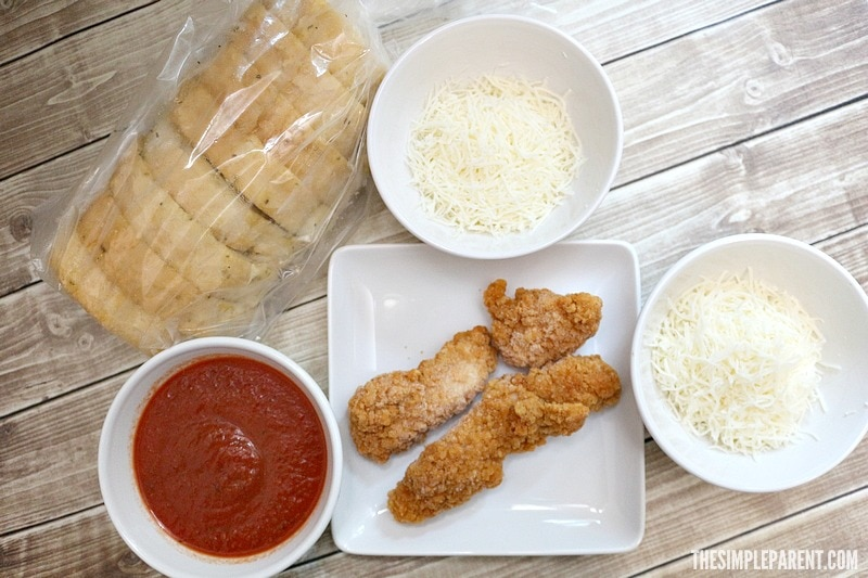 Get these ingredients to make an easy baked chicken parmesan sandwich!