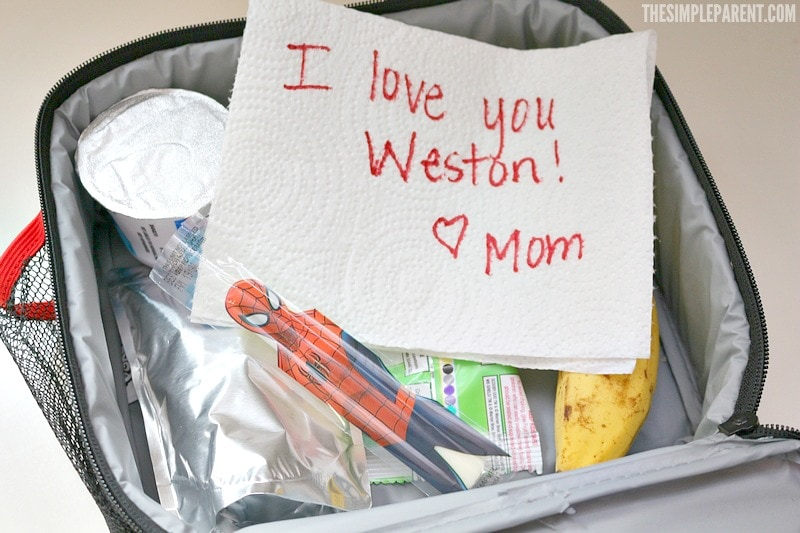One of the best school lunch ideas for picky eaters is to include a simple note to make your child feel special!