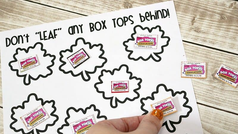 Fall Box Tops Printable Collection Sheet to Support Your School