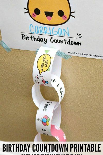 Kids Birthday Countdown Printable to Make Celebrating Easy