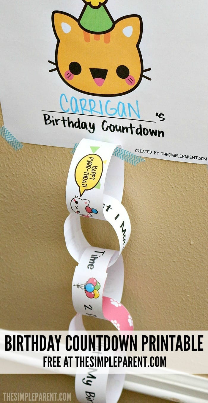 Celebrate with a kids birthday countdown printable! It's an easy way to start a tradition and make memories together!