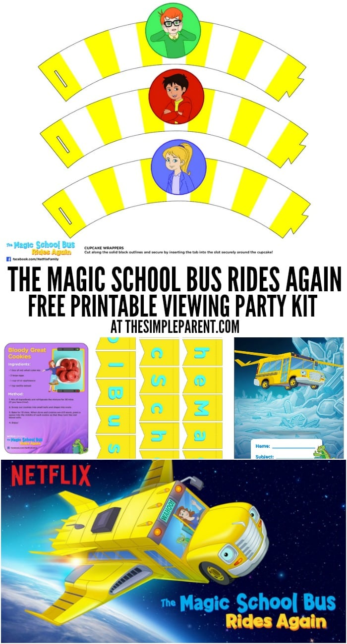 Watch Magic School Bus online and plan a party with your family using these free printables!