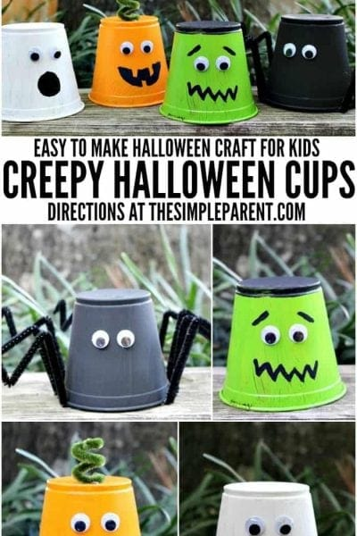 Make these easy Halloween crafts for kids! Creepy monster cups are so much fun!