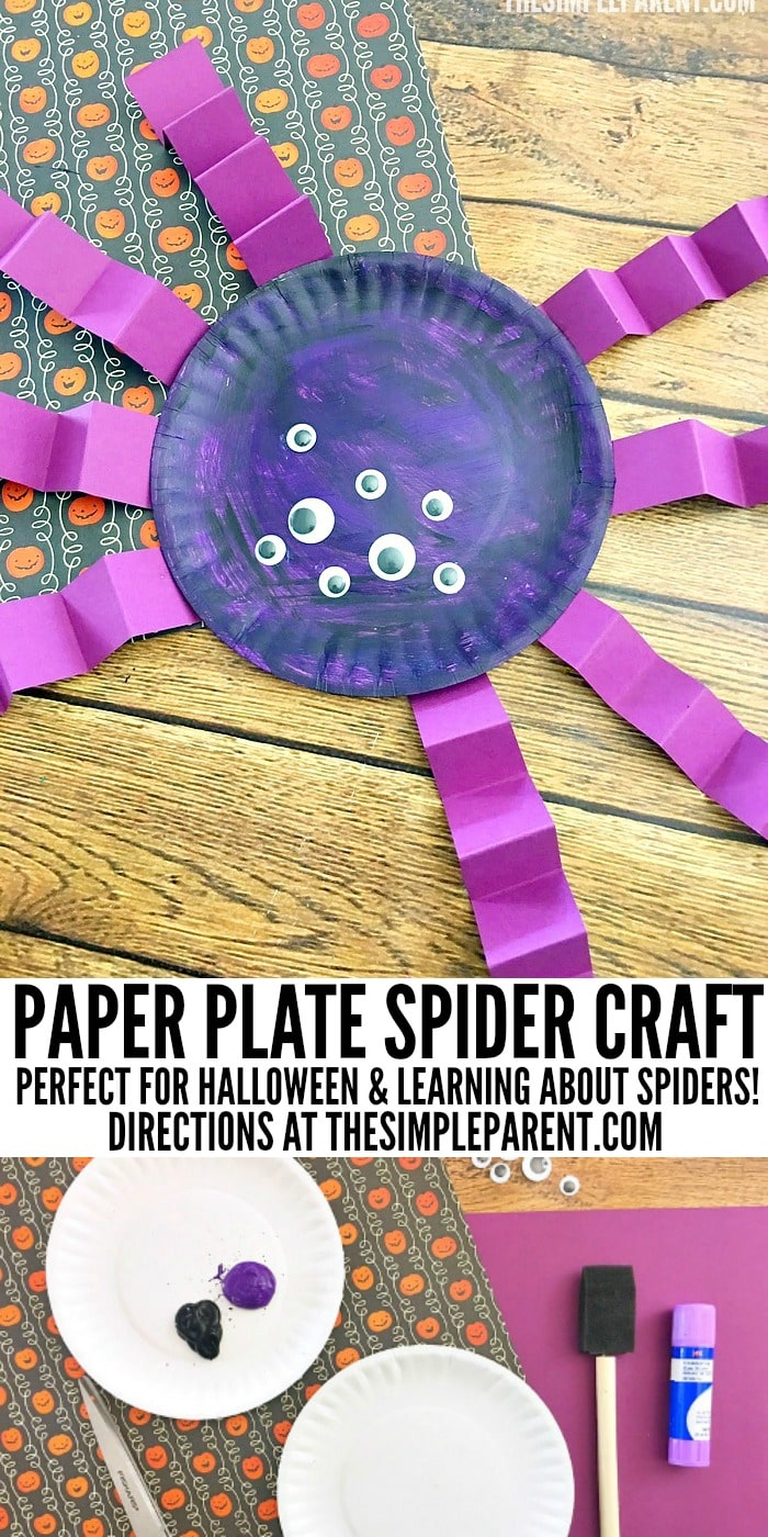 Make a spider paper plate craft together with your kids!
