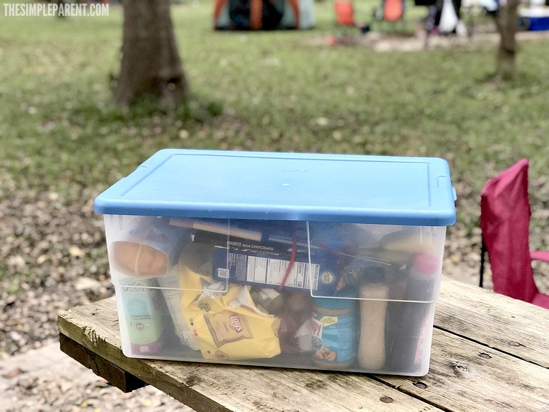One of the most basic family camping tips is to pack everything in containers with lids!