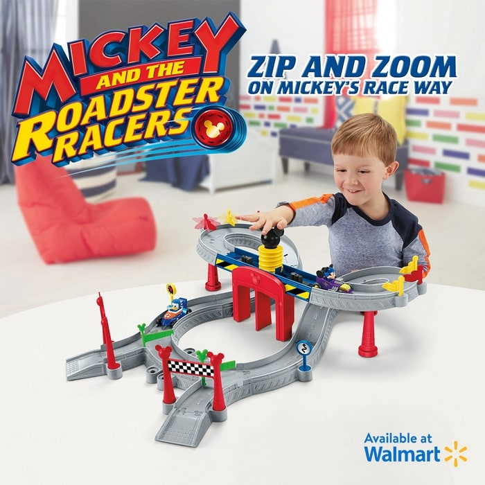 Check out the Disney Mickey and the Roadster Racers - Mickey Ears Raceway track set at Walmart! It connects with all of the Roadster Racers sets (sold separately) and makes a great gift!