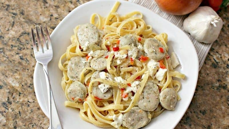 Creamy Feta Chicken Sausage Pasta Adds Flavor to Dinner