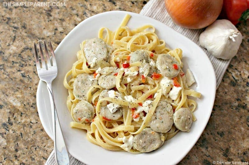 Make Creamy Feta Chicken Sausage Pasta for an easy dinner that packs plenty of flavor!