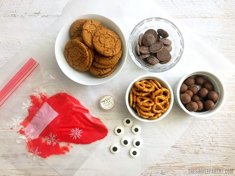 Check out the ingredients you need to make Gingersnap Reindeer Cookies! Great for holiday cookie swaps!