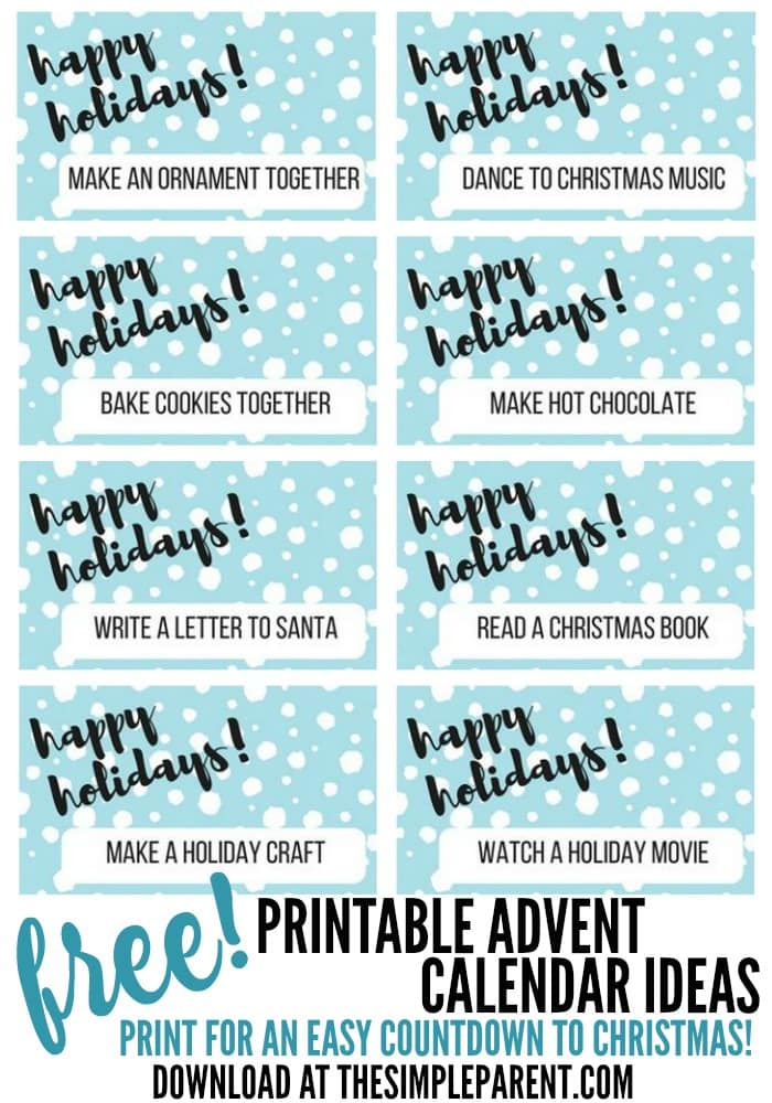 Download your free printable advent calendar activities to do with your family! Start a Christmas countdown tradition that's easy to do!