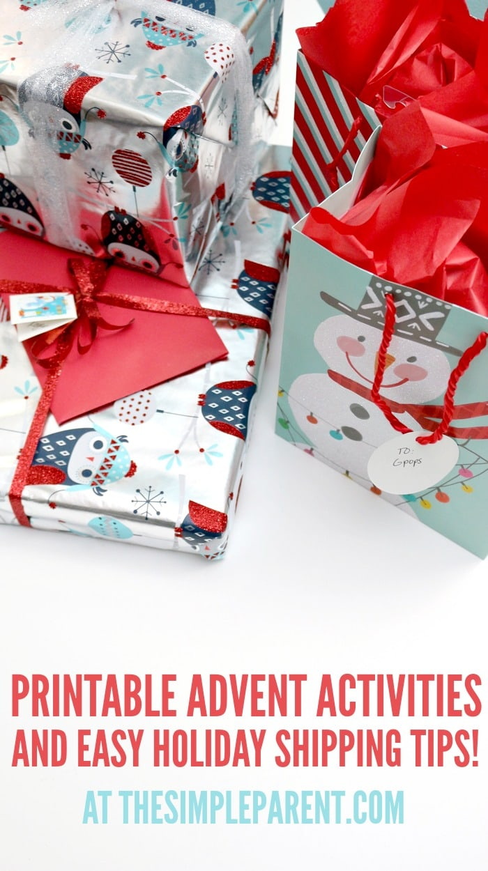 Get your FREE printable Christmas advent calendar activities and get some easy tips for holiday shipping.
