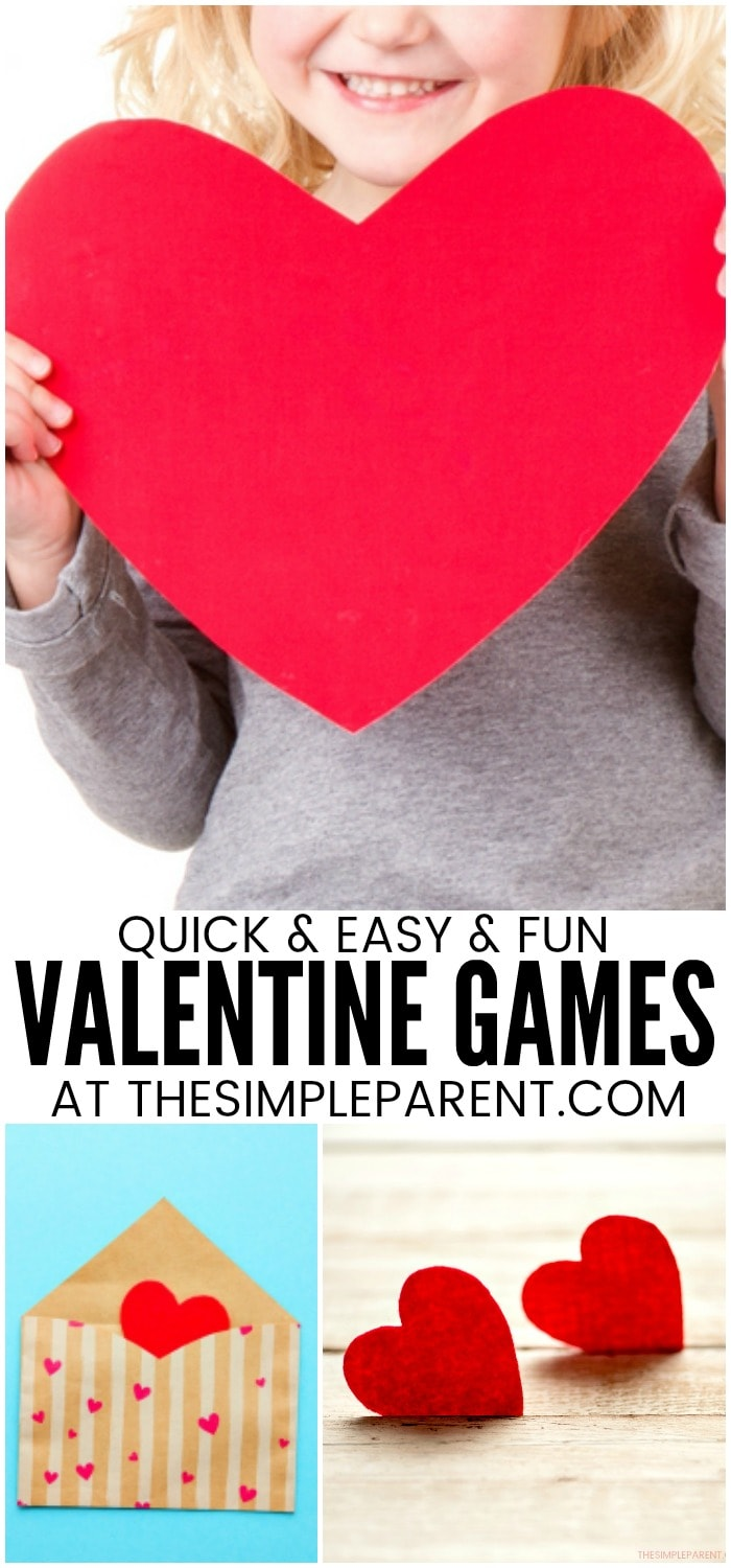 Valentine Games for Kids - These are some of the easiest games for kids and adults to play together! They're all quick DIY game ideas that are great for school classroom, preschool, and families! #4 is a great game for families with kids of different ages!