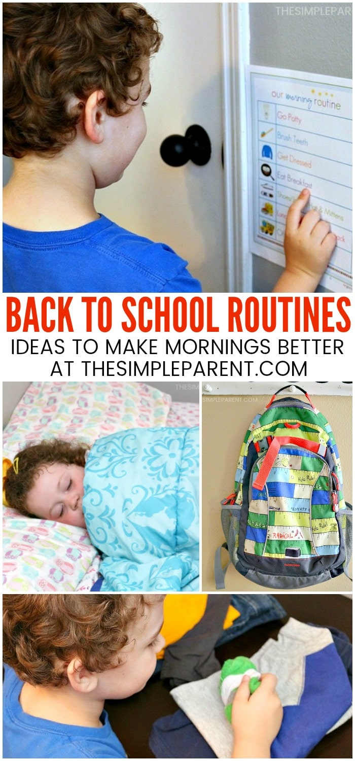 Back to School Morning Routine for School - This easy morning routine can be adapted for kids, for teens, and works great for kindergarten. Daily schedules with a checklist are a great ideas for the first day of school and beyond. It's all about time management!