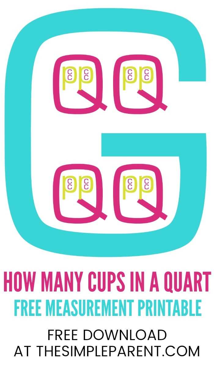 FREE Printable! How Many Cups in a Quart (In a Pint, In a Gallon)