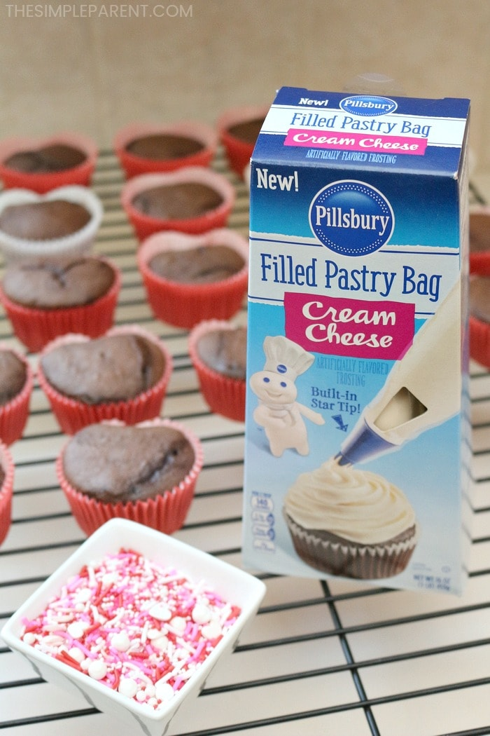 Let Pillsbury help you make heart-shaped cupcakes for Valentine's Day!