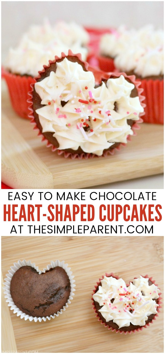Heart Shaped Cupcakes - Learn how to make Valentine heart cupcakes. It's easy to make these DIY cake ideas without any special baking pans! These chocolate heart cupcakes are perfect to make for kids! They're cute and you have to see what the trick is to making them!