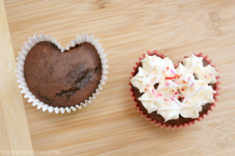 Make heart-shaped cupcakes with this easy trick!