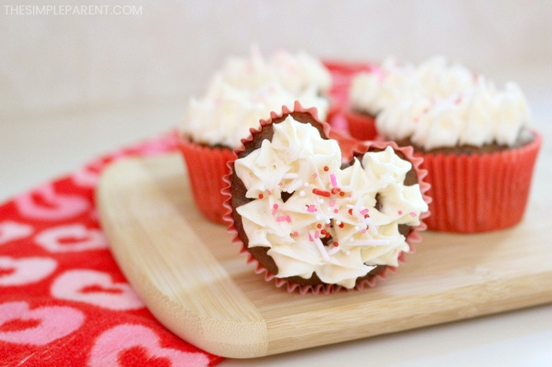 Make heart-shaped cupcakes for Valentine's Day!