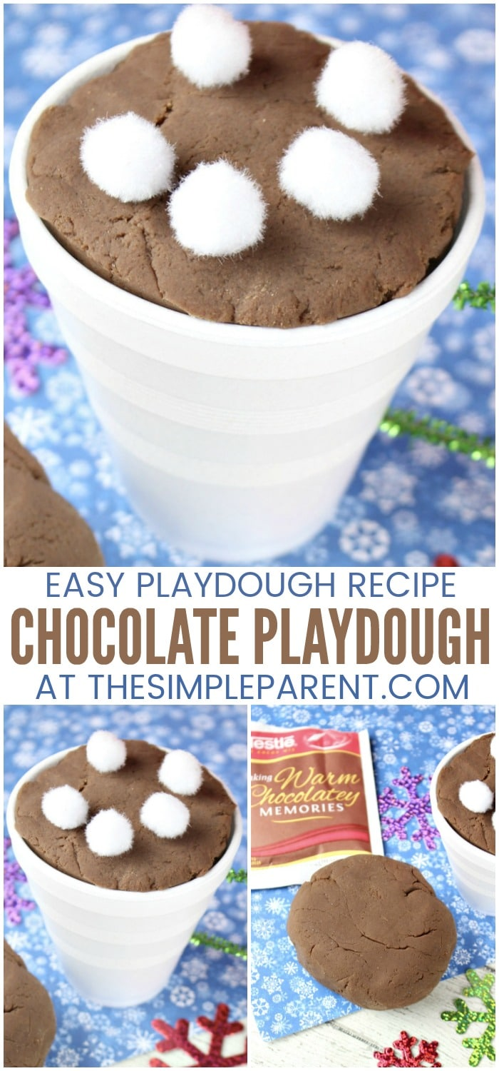 Hot Chocolate Playdough - Try this fun play doh recipe that is create for fine motor skills and sensory bins. It's one of our favorite kid activities, especially during the winter. This recipe is edible but doesn't tast amazing so watch your chilren while they're playing with it! Learn how to make this easy recipe!
