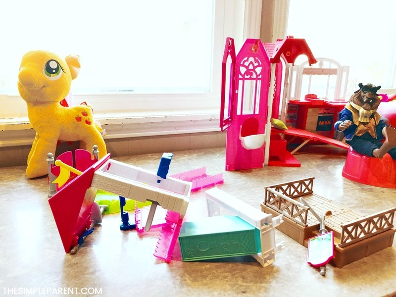 Pick up the toys on a daily basis to make living room cleaning easier!
