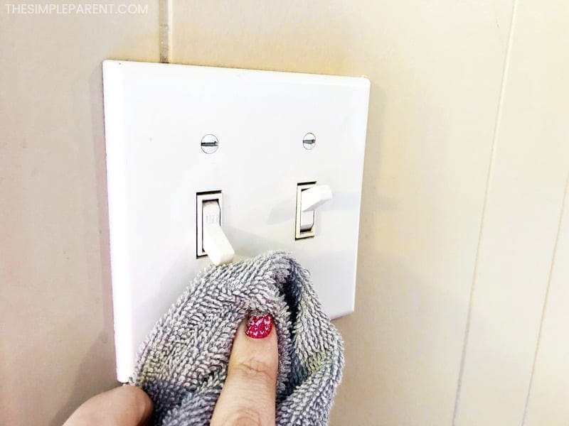Wipe down light switches and doorknobs monthly!