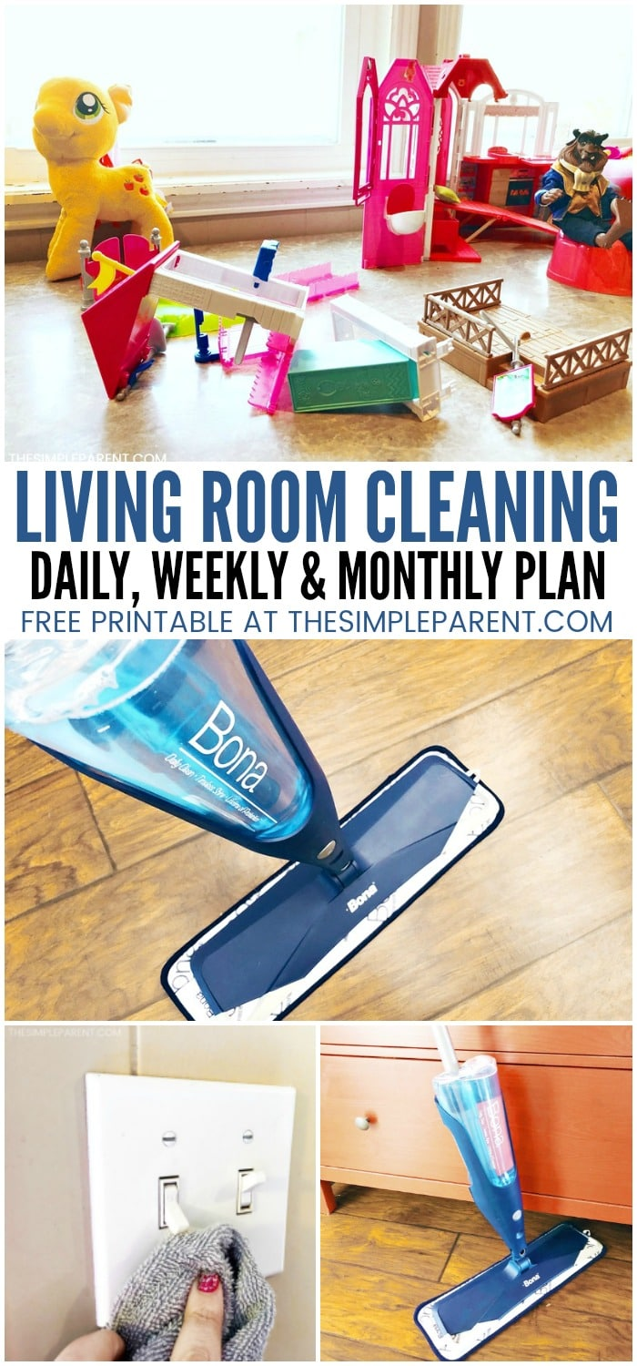 Living Room Cleaning Checklist - Printable check lists and chore charts are perfect for kids and for adults to help get your house in shape! These easy ideas will give you a daily, weekly and monthly plan to keep your home tidy!