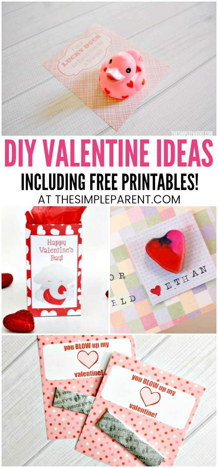 Printable Valentines for Kids - We've got free Valentine's Day cards to print and other DIY Valentines for school and for teachers! Your kids can help you make these easy ideas. I think the rubber duck is my favorite and perfect for gifting to friends!