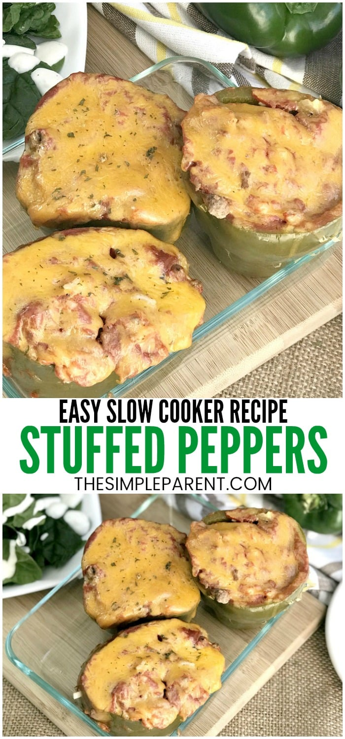Slow Cooker Stuffed Peppers - Make this healthy recipe with either ground beef or turkey. It's easy to make as a vegetarian dish too! Make these in your Crockpot and have dinner ready when you come home!