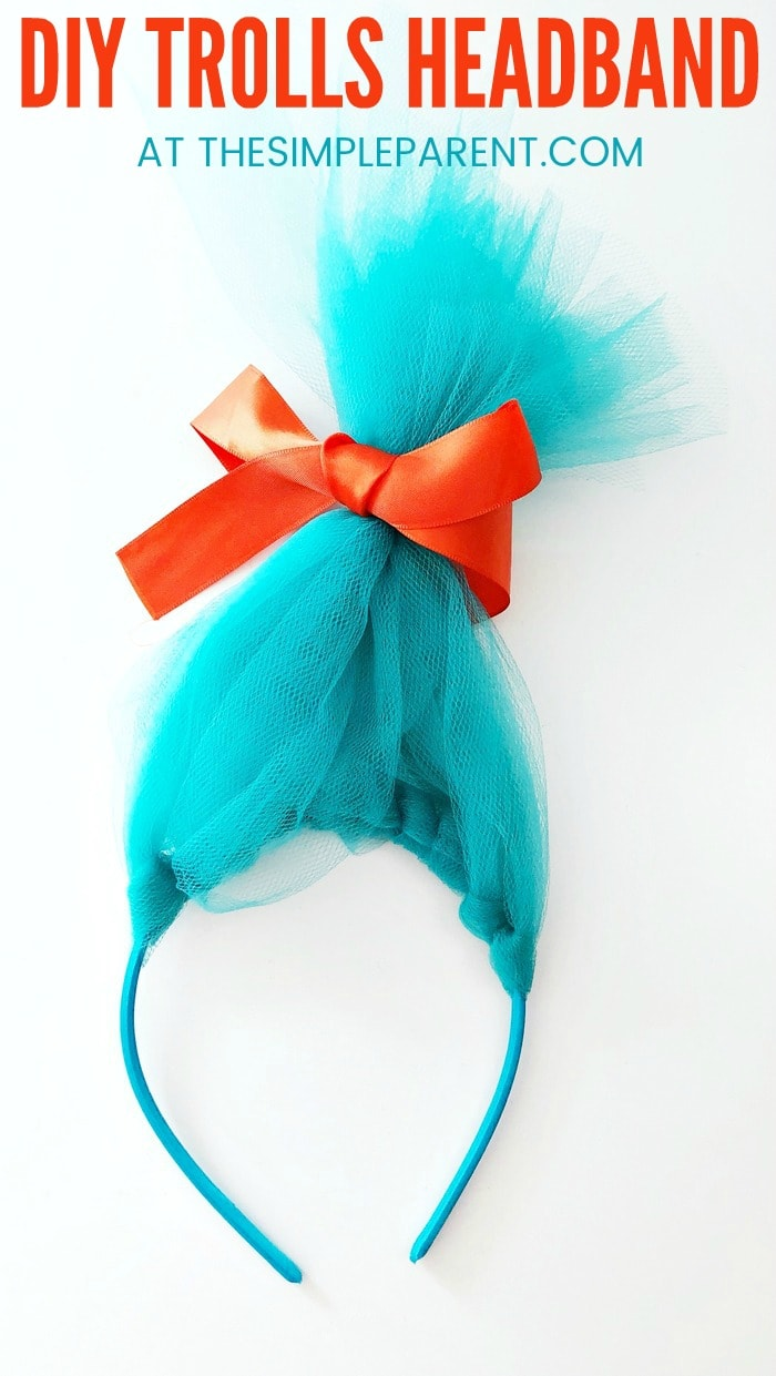 How to Make Troll Hair Headband - Learn how to make a DIY Trolls Poppy or Branch headband! To make this craft, you only need your favorite color tulle (which makes it easy to make for a boy or a girl) and follow the tutorial. You can even make a rainbow! These are also great for Trolls themed parties as a craft idea or an easy party favor!