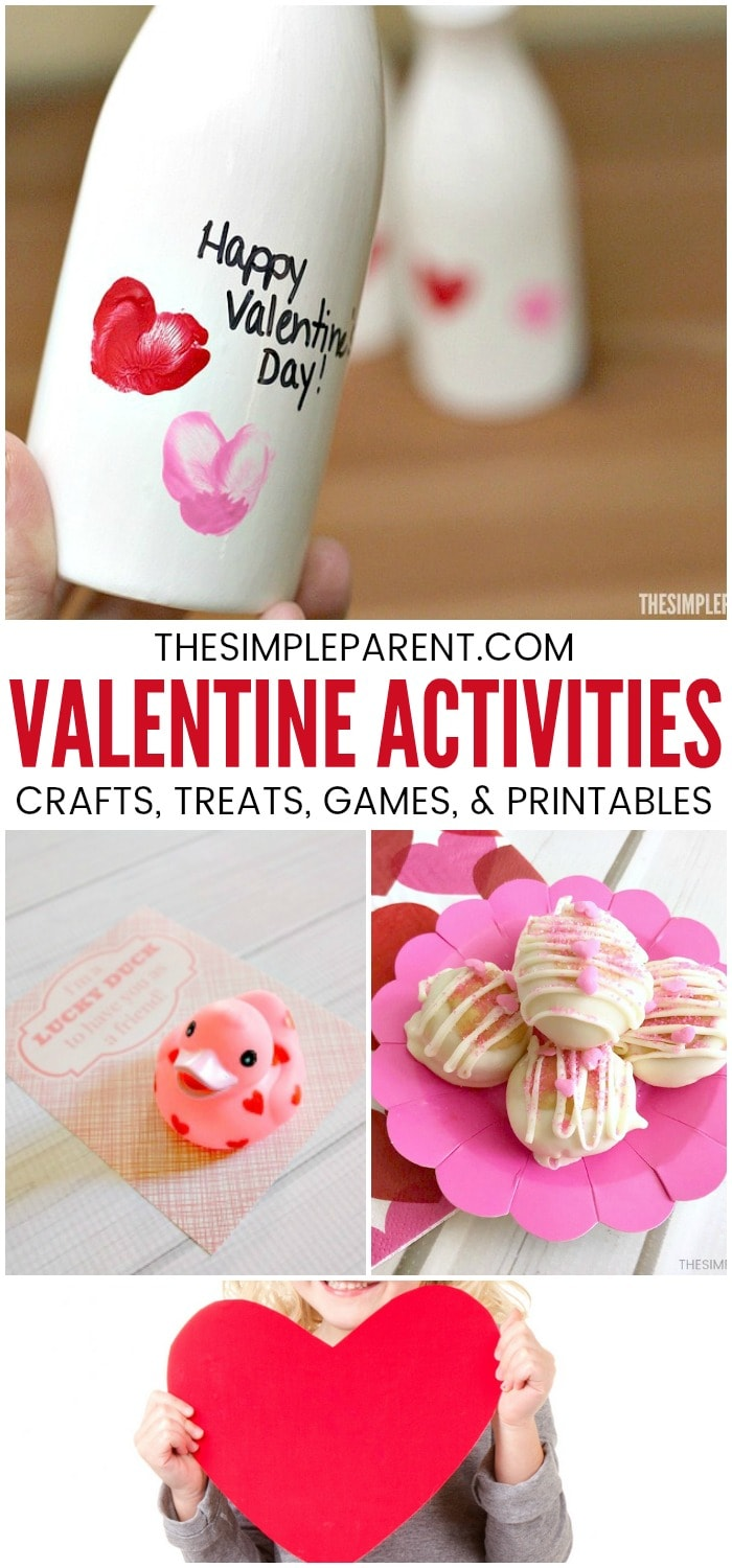 Valentine's Day Activities for Kids - We've got easy ideas for food, crafts, and cards that you'll love to make with your kids! Party treats, desserts, and even free printables! Check out the Valentine games ideas too! They're a blast to play together!