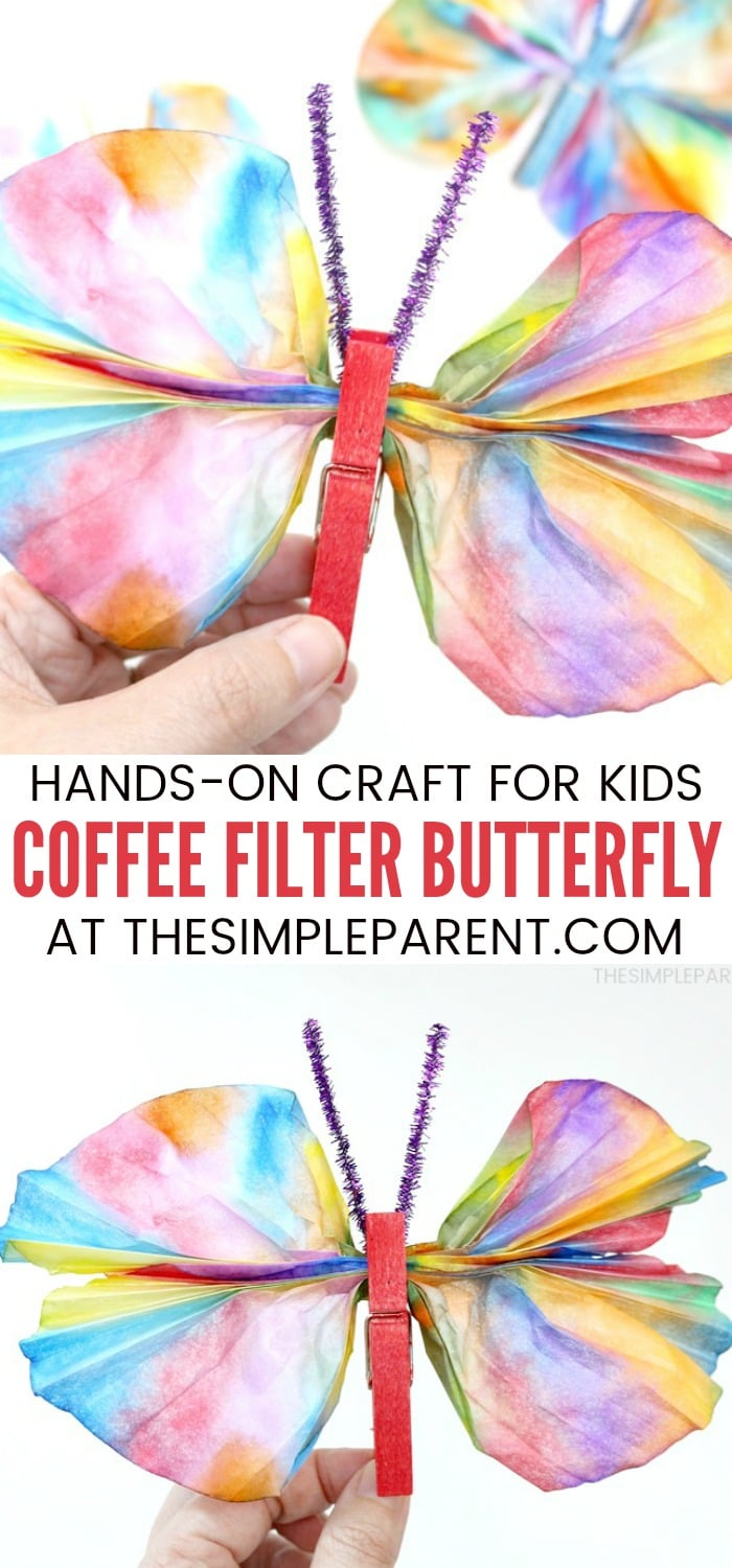 Coffee Filter Butterfly - This kids craft is easy to make with markers, clothespins, and water! It's fun for kids of all ages and pairs well with the Very Hungry Caterpillar book!