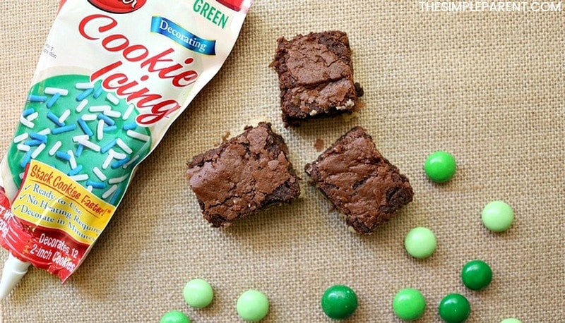 Basic ingredients to make Easy St. Patrick's Day brownies!