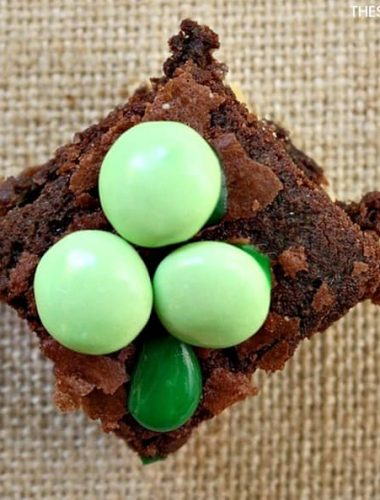 St. Patrick's Day Brownies - Food is a great way to celebrate St. Patrick's Day with your kids, especially desserts! Make these easy mint green chocolate brownies for kids! They can get in the kitchen with you to make these treats for St. Patty's Day! Did you know you can use M&Ms to turn ordinary brownie recipes into fun holiday brownies?