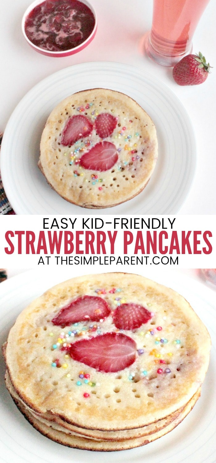 Strawberry Pancake Recipe - This easy recipe can be made with mix if you need it to be quick. It's fun for kids and can also be whipped up with a variety of different berries and even banana! If you want a great sit down breakfast with your family, make these pancakes and our tasty Strawberry syrup recipe!
