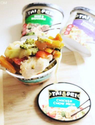 Take a bite of Tai Pei Frozen Food Chicken Chow Mein.